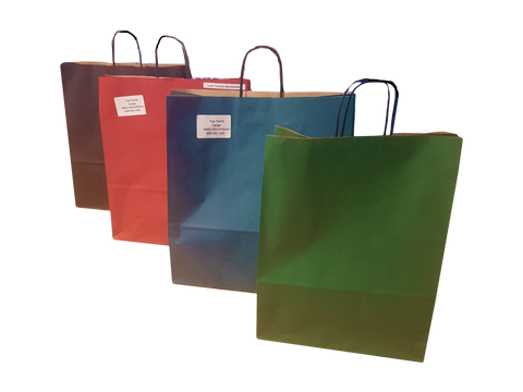 Paper Shopping Bags - Blue, Black, Green, & Red Colours - TopTwist Handles