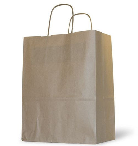 Brown Shopping Bag - Paper Bag with Handles - Top Twist Bags (Qty: 200+)