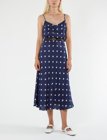 Cara Dress Polka Dot Shantung - Creatures of Comfort