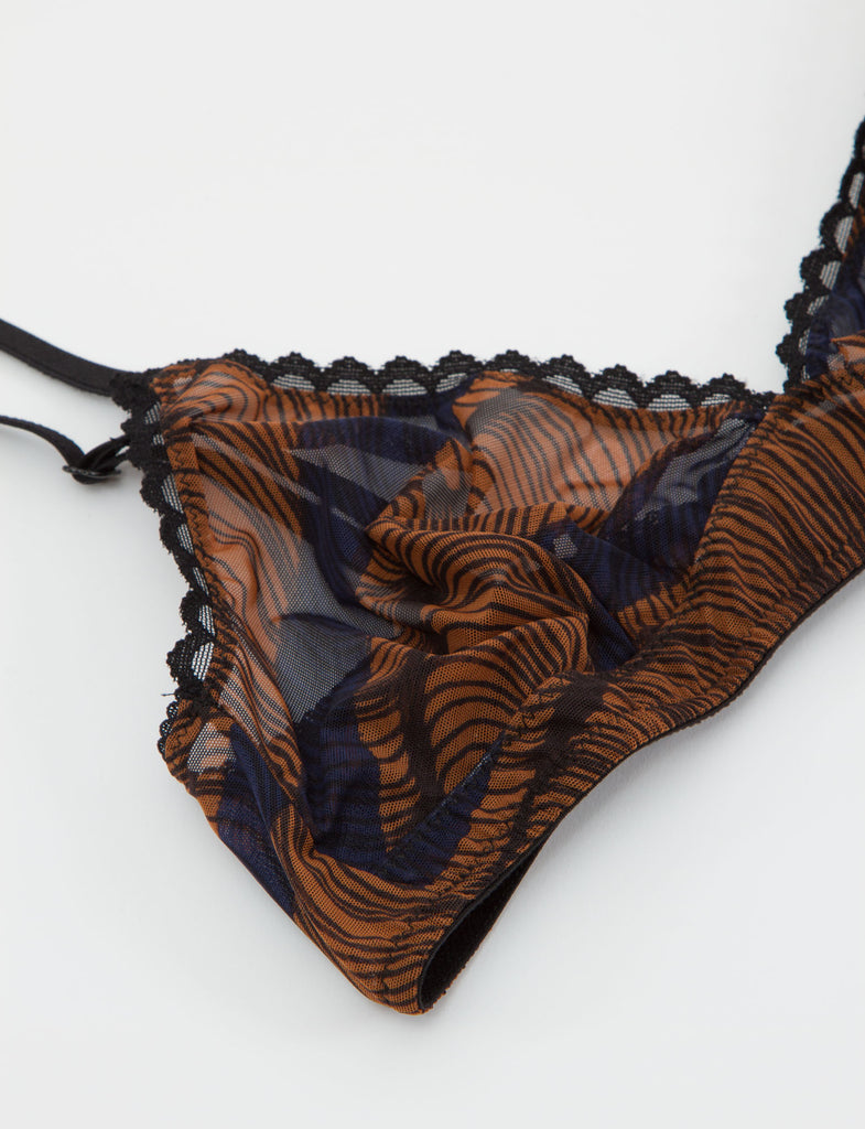 Printed Tulle Banded Bra