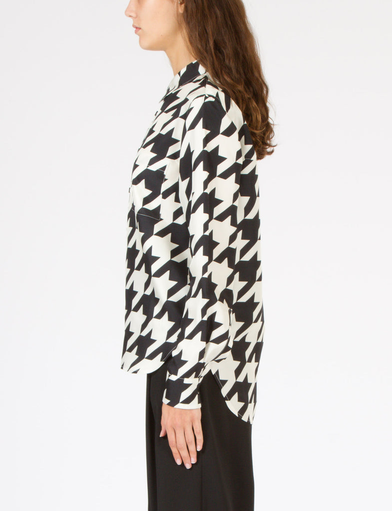 Allen Shirt Houndstooth Silk Twill