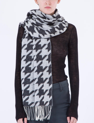 Houndstooth Scarf Wool Jacquard