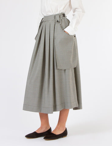 Oak Skirt Houndstooth Suiting