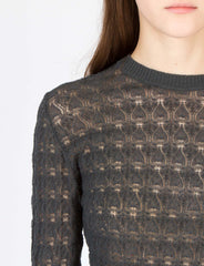 Jacquard Long Sleeve Crew Noir