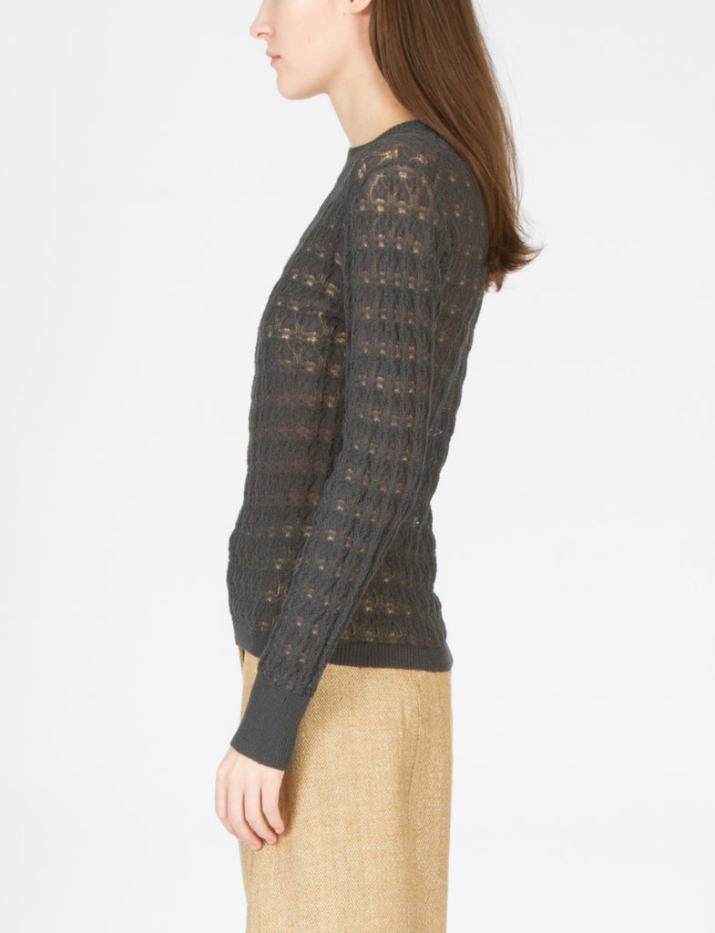 Jacquard Long Sleeve Crew Noir - Creatures of Comfort