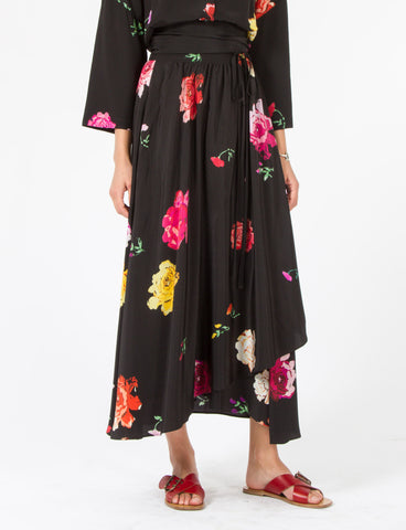 Coyocan Skirt Floral Silk Crepe de Chine
