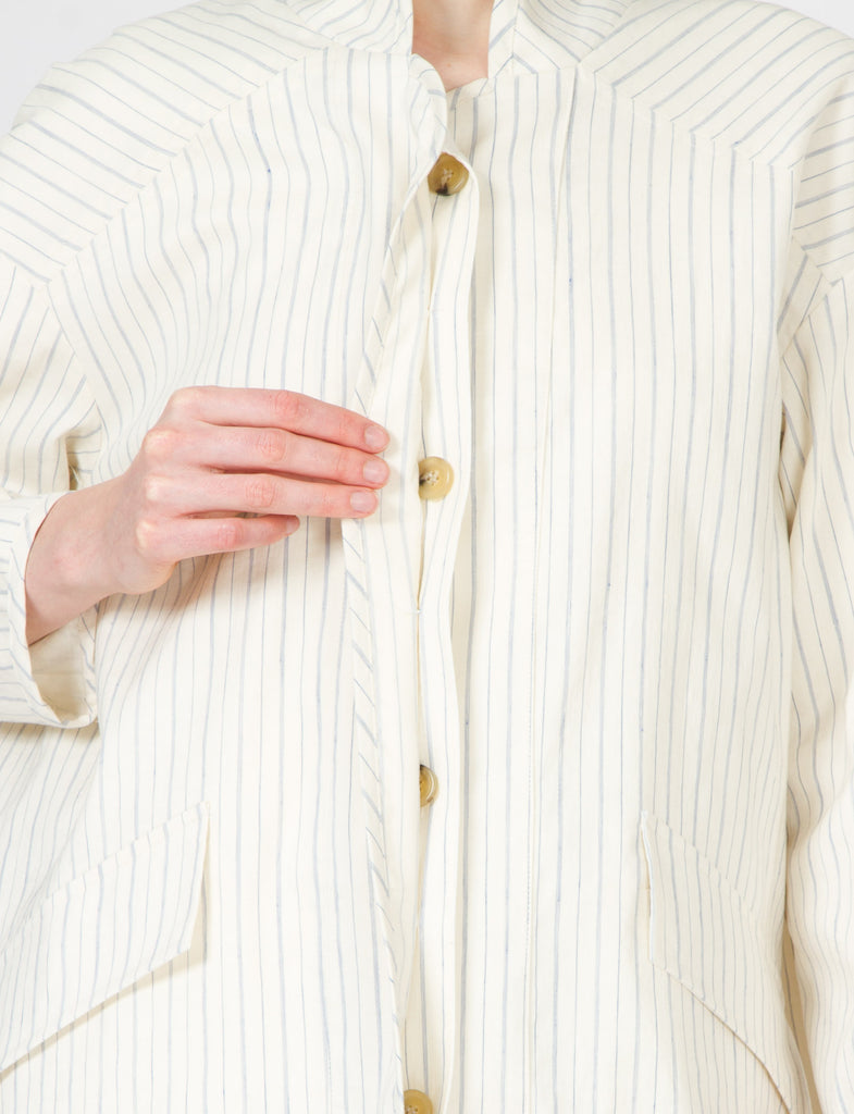 Creatures of Comfort Duffey Jacket Striped Cotton Linen
