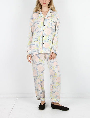 Pajama Set Silk Crepe Flower