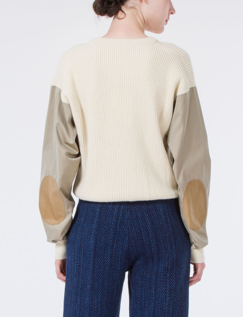 Camel Sweater With Leather Patch