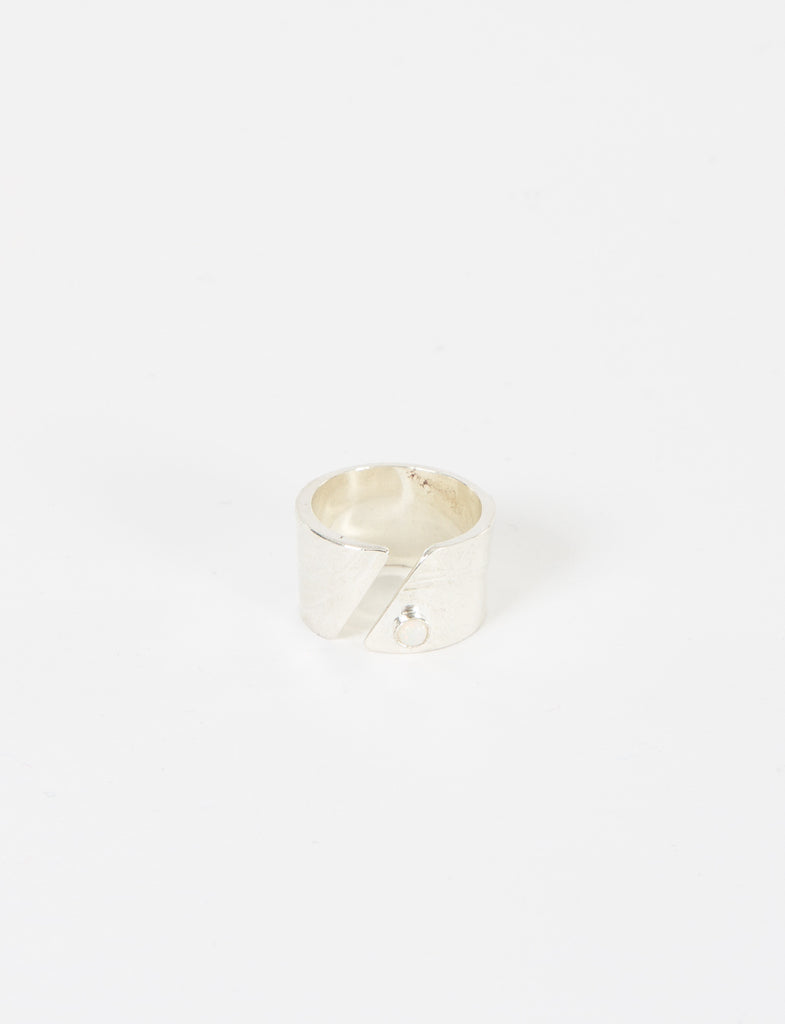 Diagonal Cut Ring W/Opal Silv