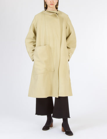 Wrapover Coat with Loose Pocket