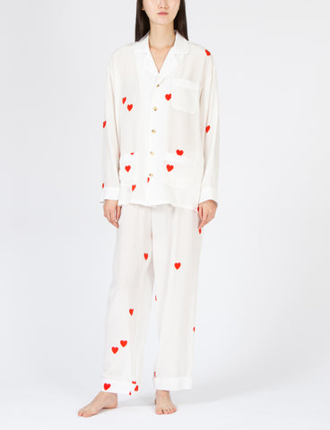 Pajama Set Heart Print Silk - Creatures of Comfort