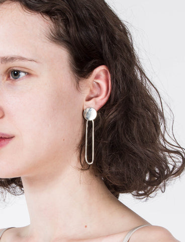 Onda Disc W/Oval Drop Earrings