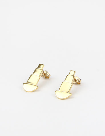 Sq & Circle Stud Gold