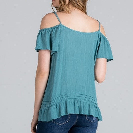 Jade Cold Shoulder Top
