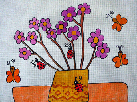 "Needlepoin?t canvas ""For mommy.Bunc?h of flowers"""