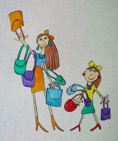 "Needlepoin?t canvas ""Sunday.Sh?opping with mommy"""