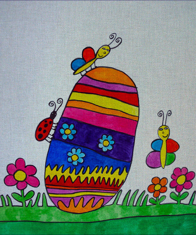 "Needlepoin?t canvas ""Easter Egg, ants and butterfly"""
