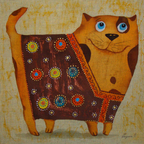 Needlepoint canvas 'Cat dressed in vest'