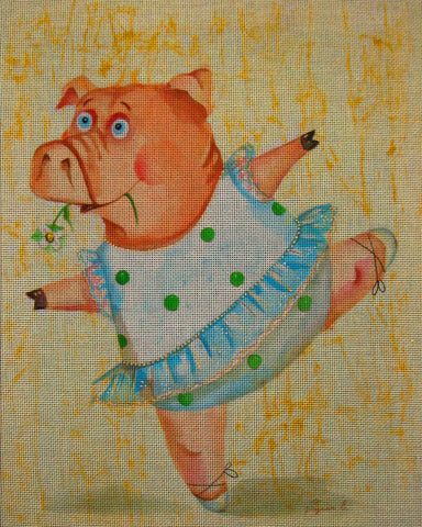 Needlepoint canvas 'Pig.Everyone wants to be a ballerina'