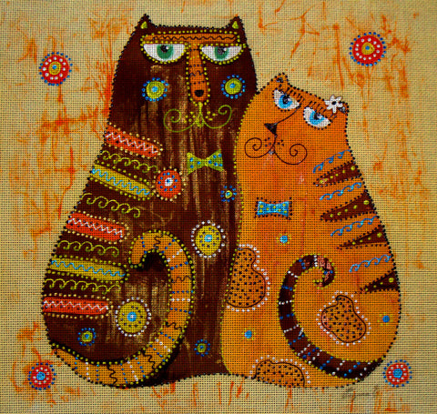 Needlepoint canvas 'Cats in Love'