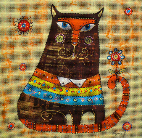 Needlepoint canvas 'Brown Cat'