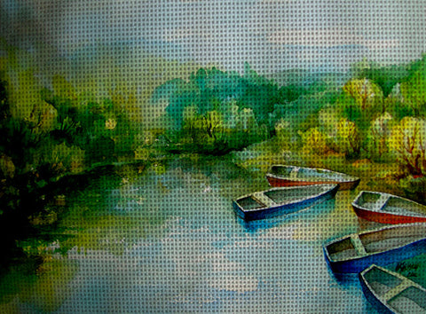 Needlepoint canvas 'Before a thunder storm.Italy'