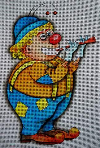 Needlepoint canvas 'Clown with horn'