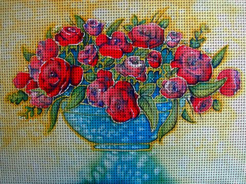 Needlepoint canvas 'Bunch of Red Roses'