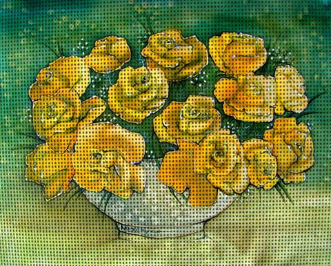 Needlepoint canvas 'Bunch of Yellow Roses'