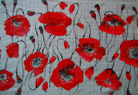 Needlepoint canvas 'Crimson Poppies'
