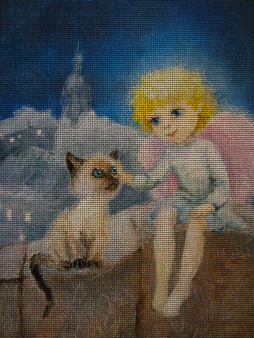 Needlepoint canvas 'Christmas Angel and Siamsese Cat'