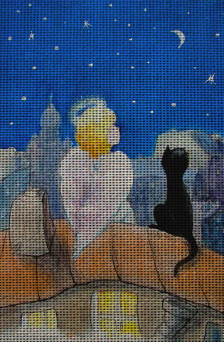 Needlepoint canvas 'Night before Christmas on the Roof'