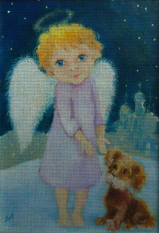Needlepoint canvas 'Christmas Angel and Puppy'