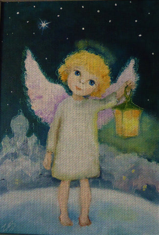 Needlepoint canvas 'Christmas Angel with tinny lantern'