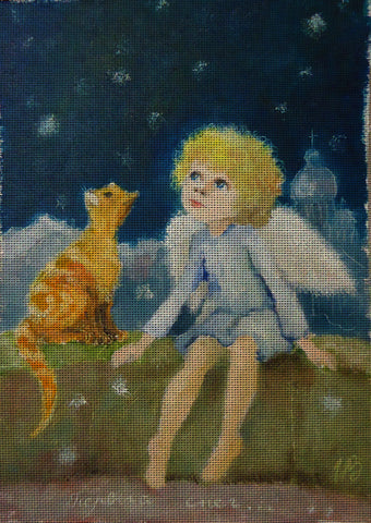 Needlepoint canvas 'First snow.Angel and red cat'