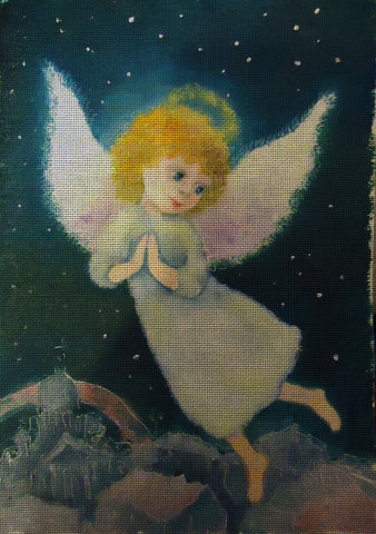 Needlepoint canvas 'Praying Christmas Angel at Night'