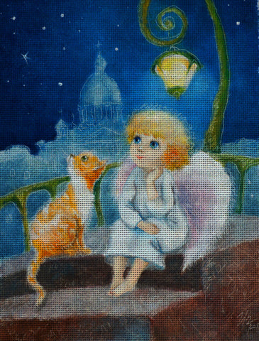 Needlepoint canvas 'Red cat and Christmas Angel'