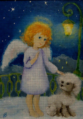 Needlepoint canvas 'Gold hair Angel and White Poodle'