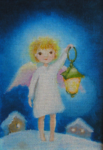 Needlepoint canvas 'Angel with lantern at Christmas night'