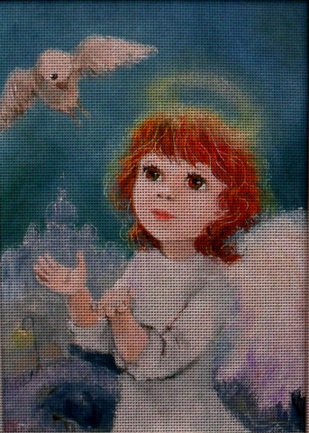 Needlepoint canvas 'Christmas Angel and white dove'