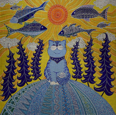 "Needlepoint canvas ""Summer dreams of Blue Cat"" by Irina Seliutina"