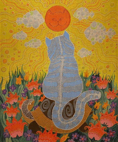 "Needlepoint canvas ""Cat,the Sun and Turtle"" by Irina Seliutina"