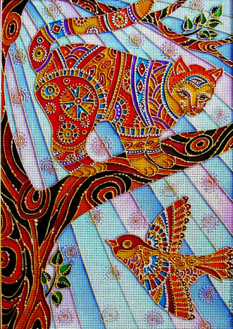 Needlepoint canvas 'Cat and bird'