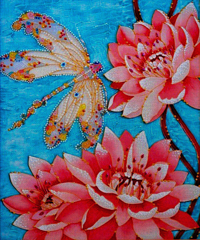 Needlepoint canvas 'Dragonfly and Lotus'