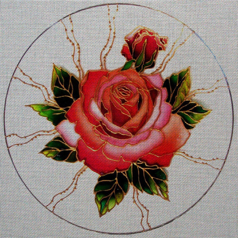 "Needlepoint canvas ""Roses's round ornament"""