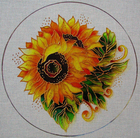 "Needlepoint canvas ""Sunflowers Round Ornament"""