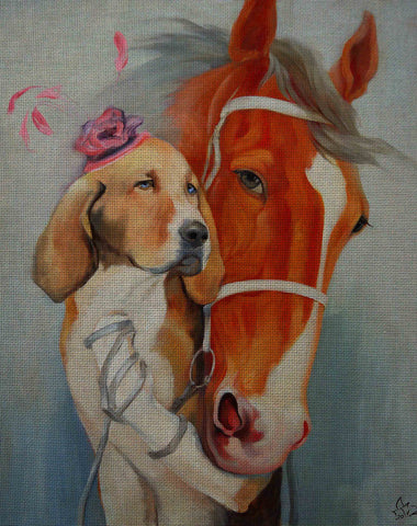 Needlepoint canvas 'Dog and horse.Keep on the a short leash'