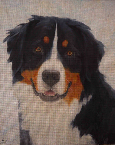 Needlepoint canvas 'Bernese Mountain Dog In winter'