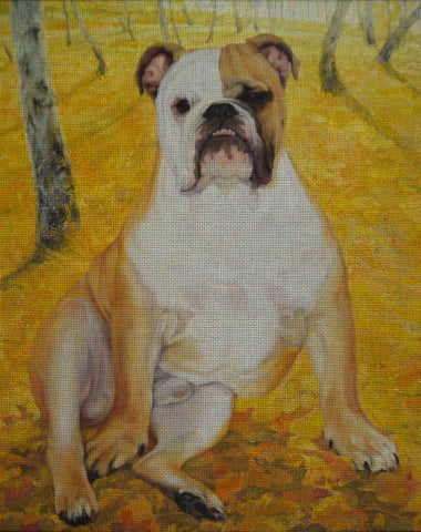 Needlepoint canvas 'Bulldog Bourgeois in Fall'